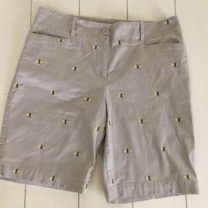 Talbots Petites Bee Embroidered Shorts